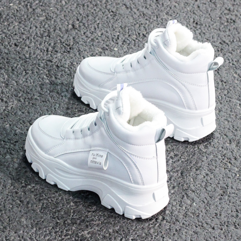 FUJIN / Women's Casual Sneakers; Winter Sneakers With Plush Fur; Warm Women's Shoes; Women's Shoes With Lacing; Women's Shoes On