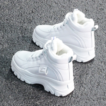 Womens casual sneakers; winter sneakers with plush fur; warm womens shoes; womens shoes with lacing; womens shoes on