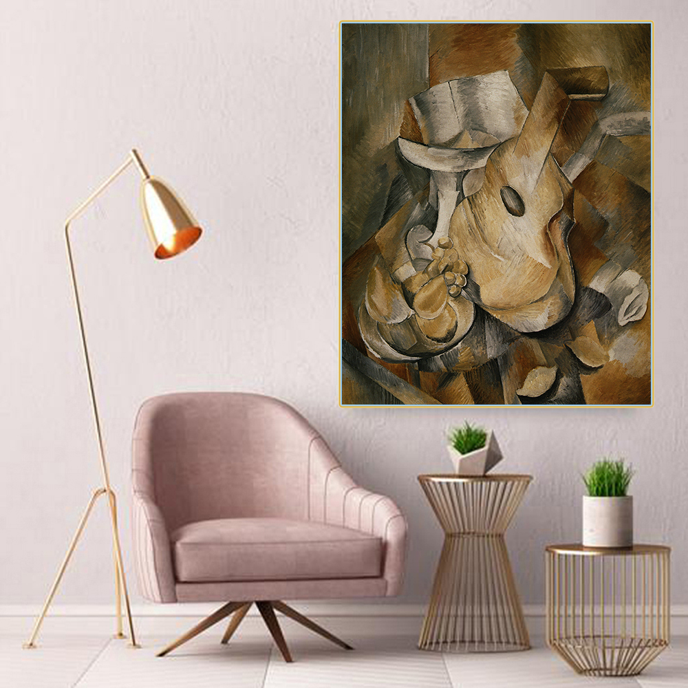Citon Canvas Art Oil painting Georges BraqueBraque guitar and fruit dishArtwork Picture Modern Wall decor Home Decoration