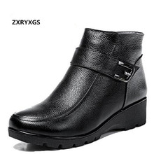 ZXRYXGS Rhinestone Women Shoes Fashion Boots 2020 Warm Boots winter Snow Shoes Comfort wool Real Leather Boots wedges snow boots zxryxgs brand shoes woman single ankle boots 2018 new fashion warm comfort plus velvet and wool snow boots genuine leather boots