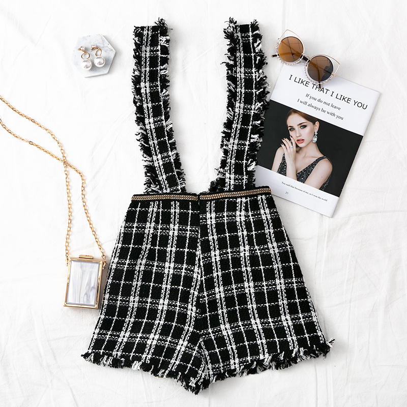 Mossha Asymmetry Vintage High waist tweed skirts womens 19 autumn winter Fringe strap button culottes female Sexy party skirt 9