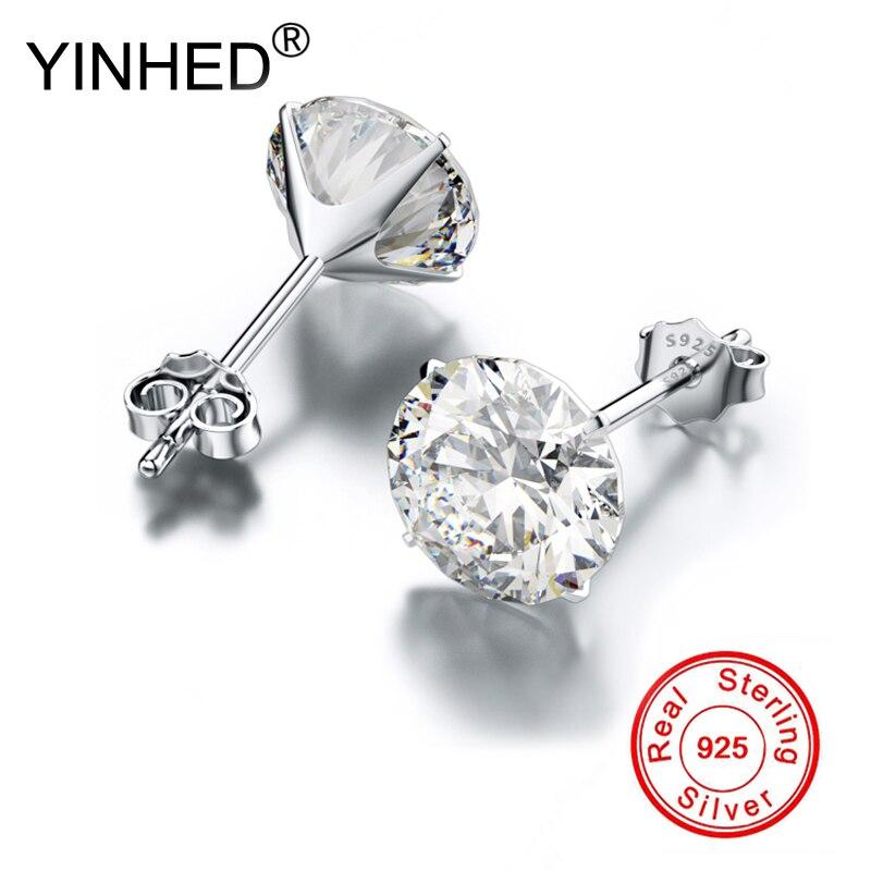 YINHED véritable 925 boucles d'oreilles en argent Sterling pour les femmes et les hommes vêtements quotidiens zircon cubique boucle d'oreille bijoux en gros ZE096