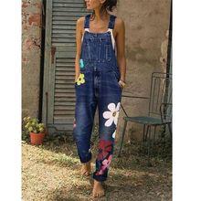 Женский комбинезон джинсовый ремень брюки с принтом потертый