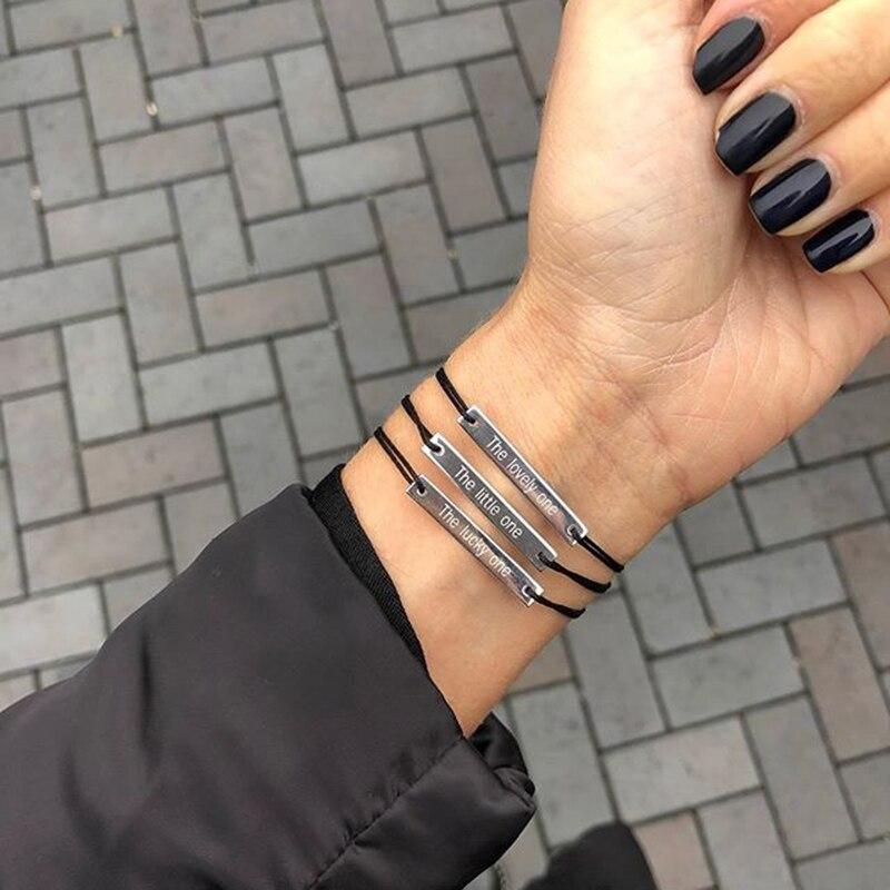 Engraving Bracelets Women Personalized Bracelet Engraving Rectangle Custom Letter Stainless Steel Red Black Rope Bracelet Women