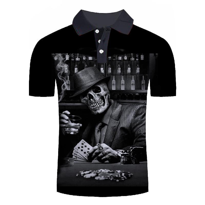 New Fashion Skull Poker Printed 3D   Polo   Shirts Men Short Sleeve Summer Tee&Tops For Male Black   Polo   Shirts Man