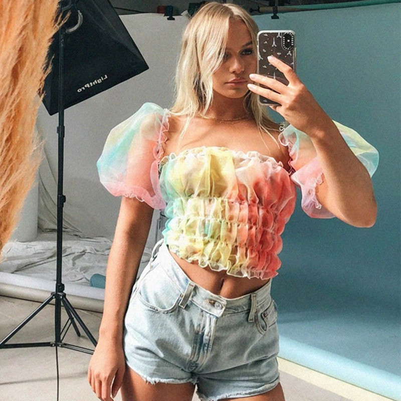 Sweetown Rainbow Tie Dye Print Puff Sleeve Crop Top Short Sleeve T Shirts Female Ruched Summer Tee Shirt Patchwork Mesh Tops