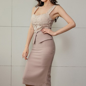 women's dress 2020 new style celebrity ol temperament lace splicing suspender skirt slim bag hip split dress woman