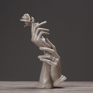 Image 1 - nordic Resin statue for decoration home decor statues beelden decoratie Abstract sculpture modern figurines love rose sandstone
