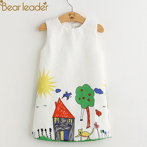 Bear Leader Girls Dresses 2020 New Brand Spring Princess Dress Kids Clothes Graffiti Print Design for Baby Girls Clothes 3-8Y(China)
