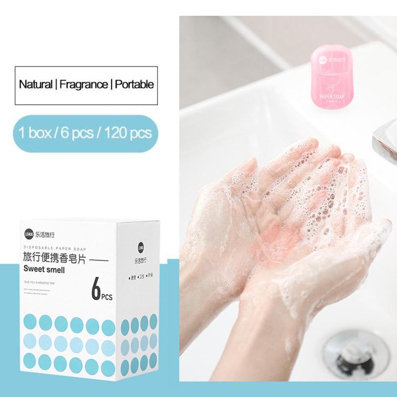 120PCS Disposable Soap Paper Travel Soap Paper Washing Hand Bath Clean Scented Slice Mini Paper Soap Effective Disinfection