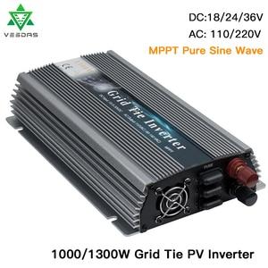 GTI 1000W 1300W PV солнечный Grid-Tie инвертор MPPT 18V 36V DC домашний микро инвертор Чистая Синусоидальная волна 110V 220V AC для 36 60 72 ячеек