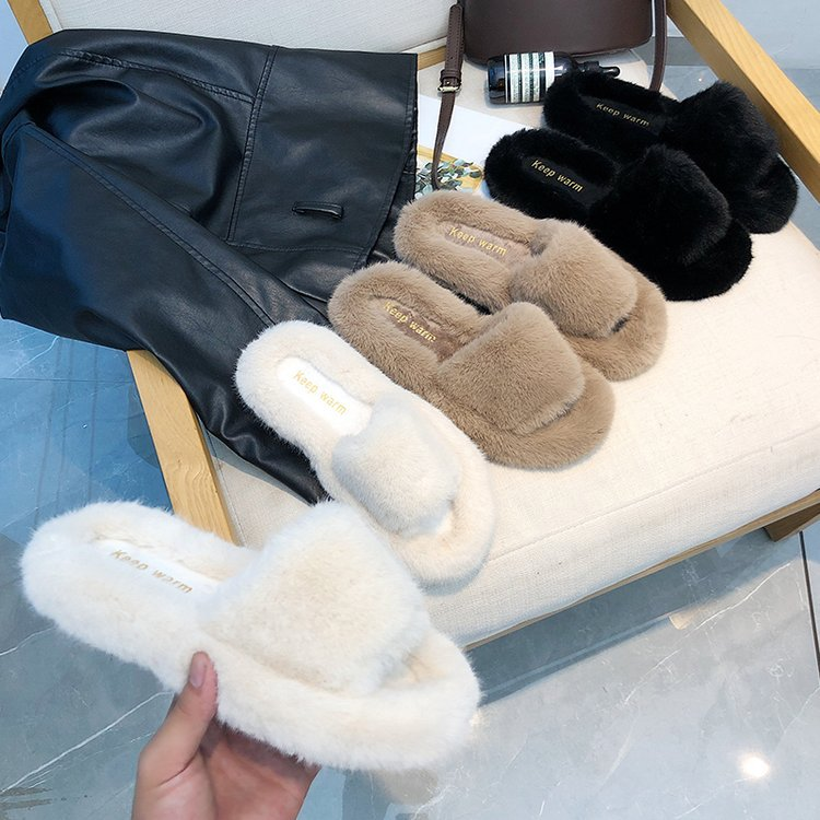 Maggie's Walker Spring Plush Slippers Women's Winter Home Furry Ears Indoor Slippers  Sapato Feminino Shoes Woman
