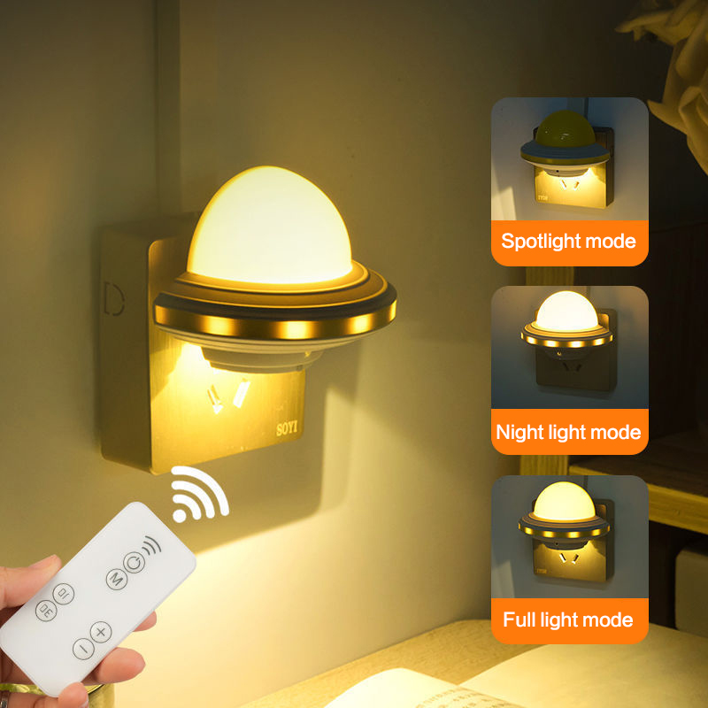 1pc LED Night Light Intelligent Remote Control Mini Bedside Lighting Lamp EU/US Plug Lighting Lamp For Children Baby Bedroom New