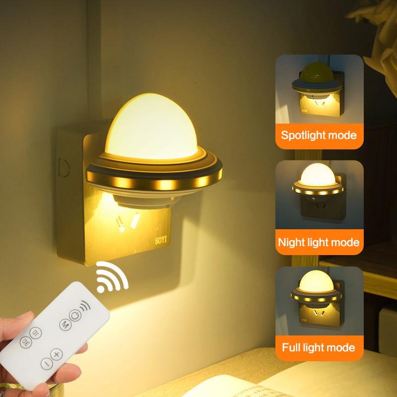 1pc LED Night Light Intelligent Remote Control Mini Bedside Lighting Lamp EU/US Plug Lighting Lamp For Children Baby Bedroom New