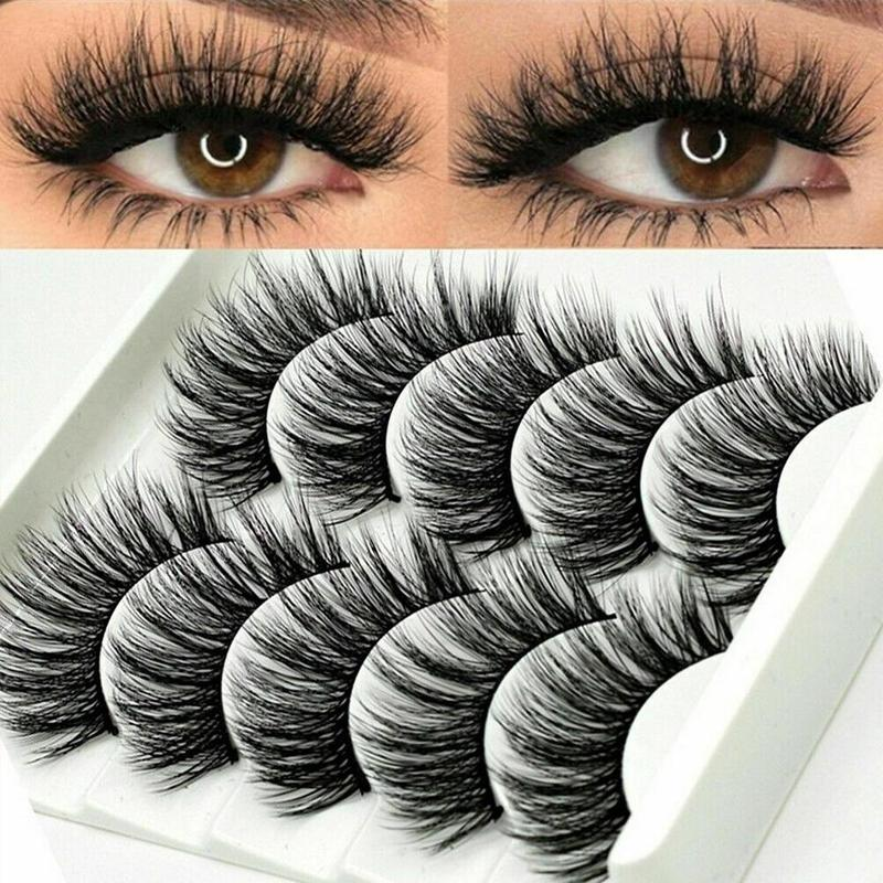 5Pair Mink Hair False Eyelashes Natural Cross False Eyelashes Long Messy Makeup Fake Eye Lashes Extension Make Up Beauty Tools