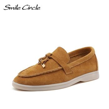 Sourire cercle/vache-daim mocassins femmes chaussures plates à enfiler en cuir véritable Ballets chaussures plates pour femmes mocassins grande taille 36-42