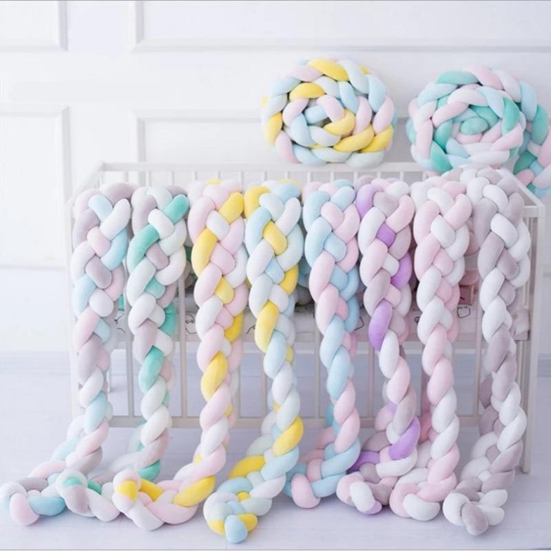 1M/2M Baby Stoßfänger Bett Stoßstange Knoten Lange Verknotet Braid Kissen Babybett Schutz Baby Room Decor