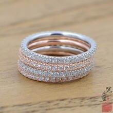 Простые круглые кольца цвета розового золота и серебра для женщин