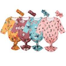 Для малышей, с цветочным узором пеленки одеяло для сна сумка повязка на голову Комплект 0-6 м хлопчатобумажное одеяльце