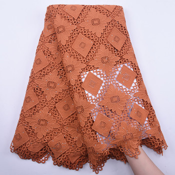 2020 Latest Guipure Lace Cord Lace with Stone Embroiderey African Cord Lace Fabric High Quality Nigeria Water Soluble Lace