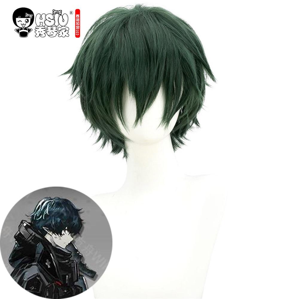 HSIU Faust Cosplay Wig,Game Arknights Wig,Dark Green Short Hair,Party Halloween Cosplay Boy Wig Fiber Synthetic Wig