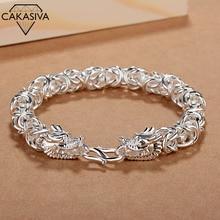 Men's Frosted Smooth Faucet Bracelet Vintage Domineering Fashion Hand Woven Silver Jewellery Men's Vintage Bracelet