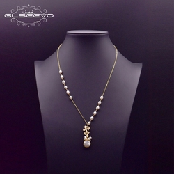 GLSEEVO Fresh Water White Real Pearl Pendant Necklace For Women Engagement Party Flower Vintage Handmade Luxury Jewelry GN0155