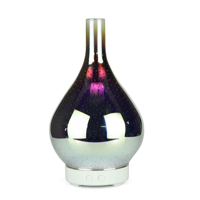 Ev Aletleri'ten Nemlendiriciler'de 3D havai fişek cam vazo şekli hava nemlendirici ile 7 renk Led gece lambası aromalı uçucu yağ difüzör Mist Maker ultrasonik Humi title=