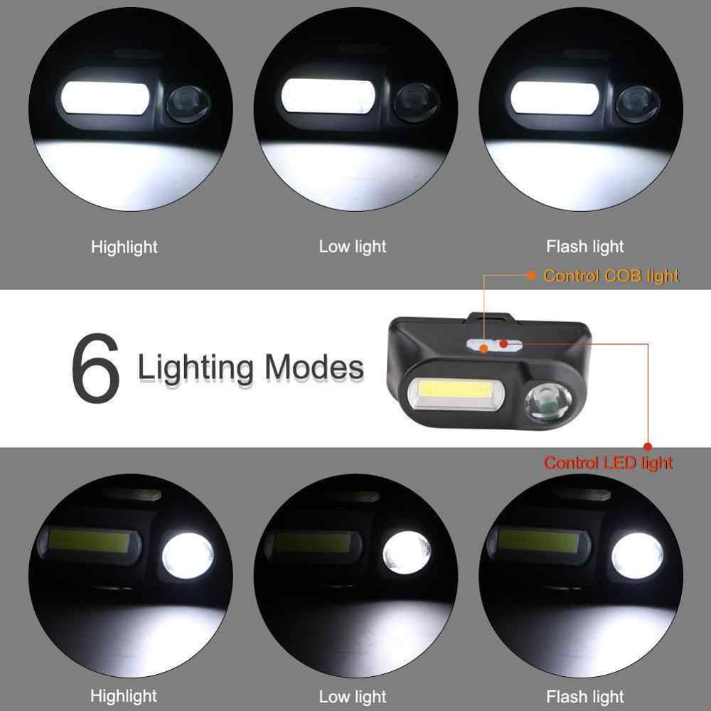 Mini COB phare de vélo LED lampe frontale lampe de poche USB Rechargeable 18650 torche Camping randonnée nuit pêche lumière