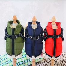 Clothing Dog-Cloth-Vest Harness Warm-Jacket Puppy Winter with Outdoor Walk Adjustable