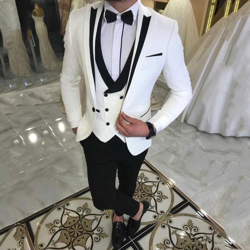 Latest White Suits For Wedding Tuxedos Groom Wear Black Peaked Lapel Groomsmen Outfit Man Blazers 3PCS Trajes De Hombre Costume