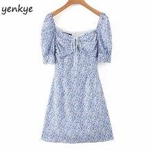 Multicolor Floral Print Dress Women Short Sleeve A-line Mini Holiday Summer
