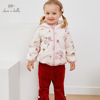 DB4258-G dave bella winter baby girls fashion floral zipper pockets hooded coat children cute tops infant toddler outerwear image