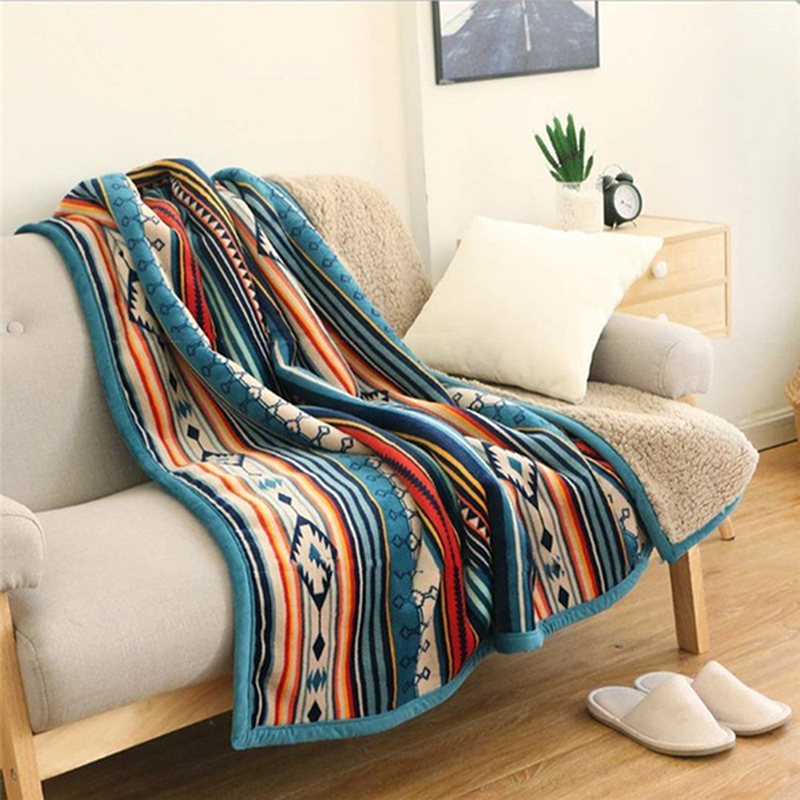 Bohemian Soft Plush Flannel Throw Blanket 50'' x 60'' for Bed Couch Sofa Camping