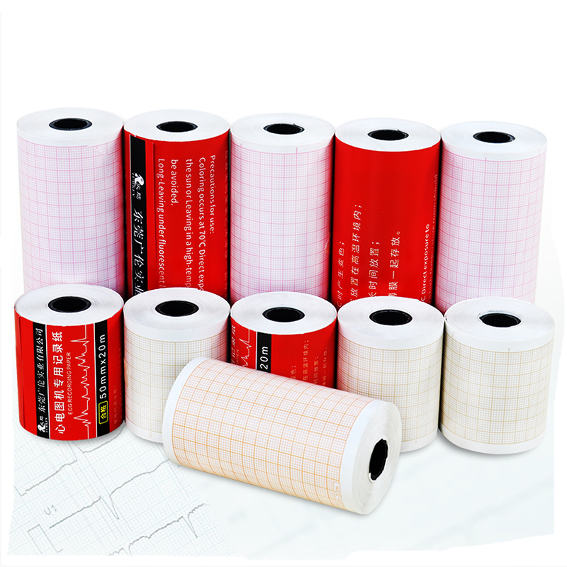 ( 10 Rolls / Box ) ECG Printing Paper Single / Three / Six Lead Medical 80X20m 50X20m 63X30m 110X20m ECG Drawing Thermal Paper