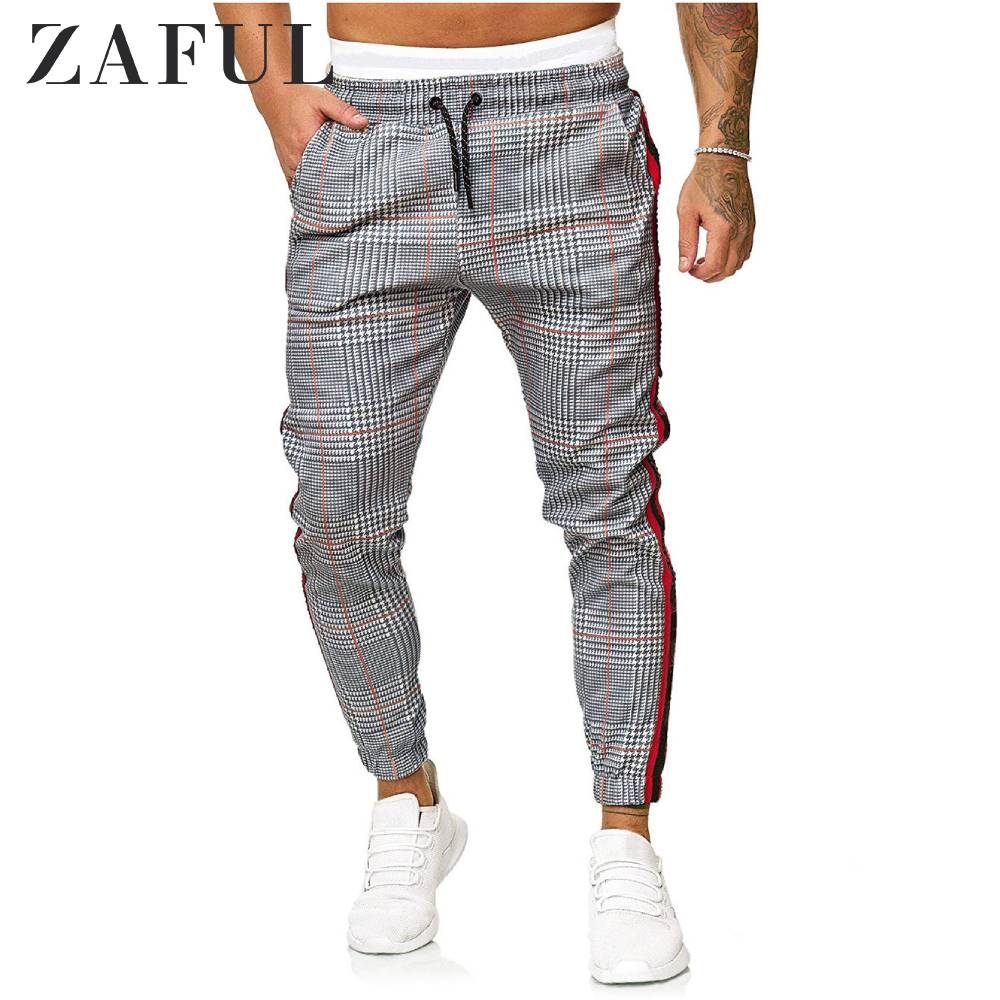 ZAFUL Men Casual Pants Drawstring Houndstooth Print Contrast Striped Jogger Pants Fashion Soft High Quality Ong Pants Trousers