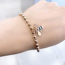 Fashion Jewelry titanium steel Bracelets, Little bee bracelet, Anti - allergy titanium steel rose gold bracelet luxury brand fashion jewelry bangle titanium steel gold color love letter bracelet