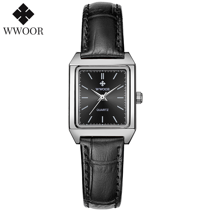 WWOOR Fashion Brand High Quality Casual Women's Wristwatch Leather Rectangular Small Watch Women Quartz Clock Montre Femme 2020