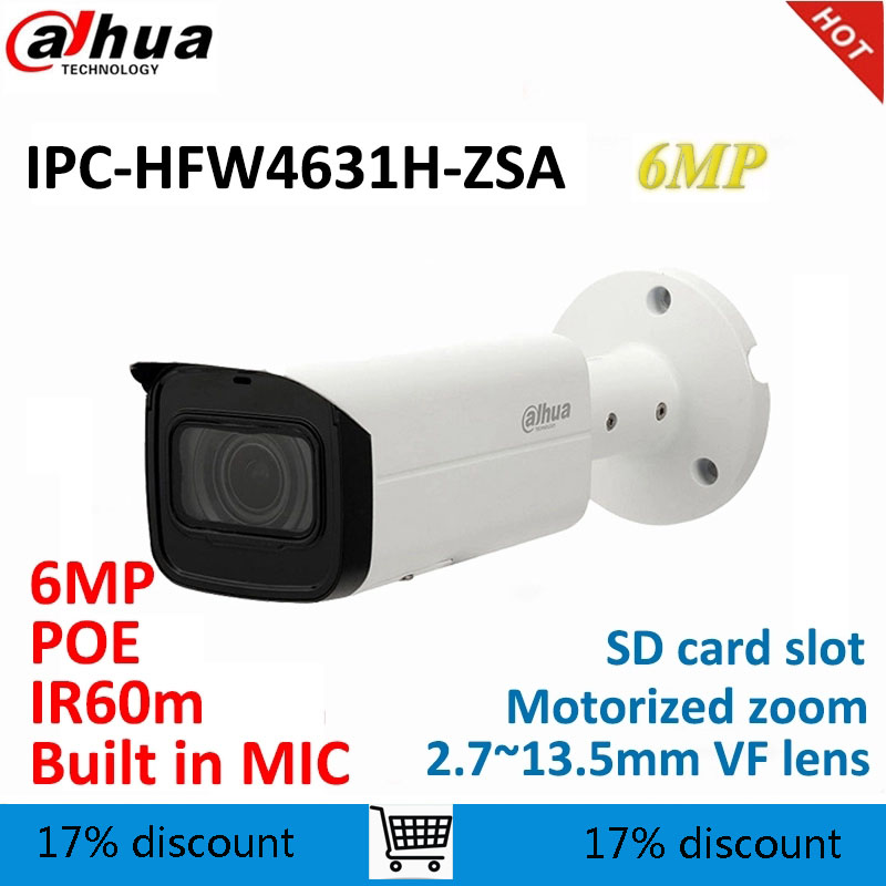 Dahua 6MP IP Bullet Camera IPC-HFW4631H-ZSA Replace IPC-HFW4431R-Z With Build In Microphone SD Card Slot PoE CCTV Camera