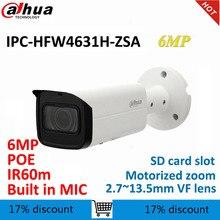 Dahua Cámara de bala IP de 6MP, IPC HFW4631H ZSA de reemplazo con micrófono incorporado, ranura para tarjeta SD, cámara CCTV PoE