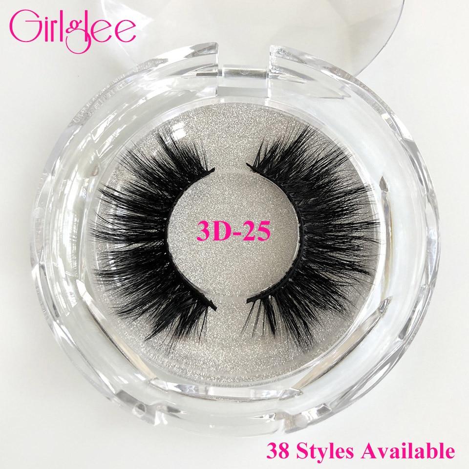 Natural Mink Eyelashes 3D Mink Lashes Long Thick False Eyelashes High Volume Eye Lashes Girlglee Hand Made Makeup Eyelash Soft