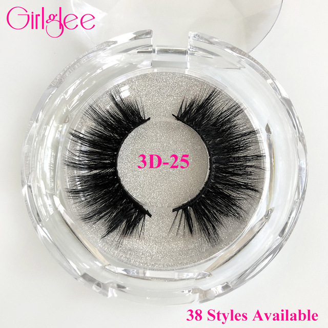 Natural Mink Eyelashes 3D Mink Lashes Long Thick False Eyelashes High Volume Eye lashes Girlglee Hand made Makeup Eyelash Soft
