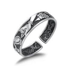 999 sterling silver Buddha Mantra Lotus Dragon Phoenix Opening Bracelet Bangle jewelry argent emith fla 100% real 999 sterling silver bangle opening fashion jewelry for women lotus adjustable vintage thai silver bracelets