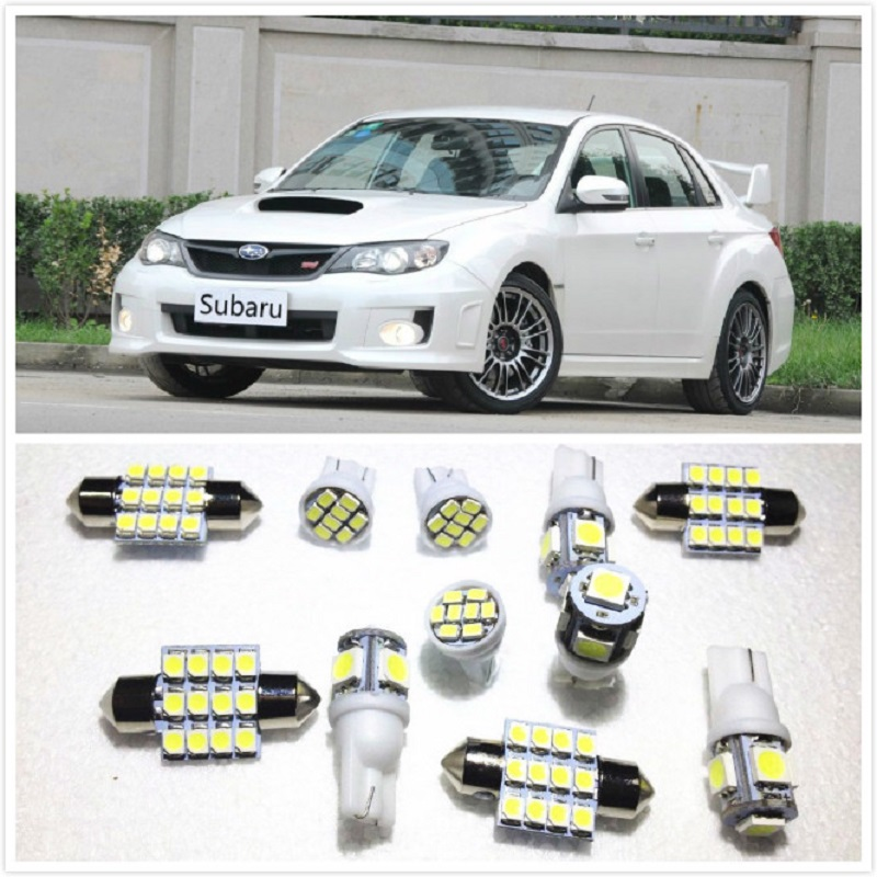 11 Set White LED Lights Interior Package 10 & 36mm Map Dome For Subaru BRZ Forester Impreza Legacy Outback Tribeca XV 2000-2019