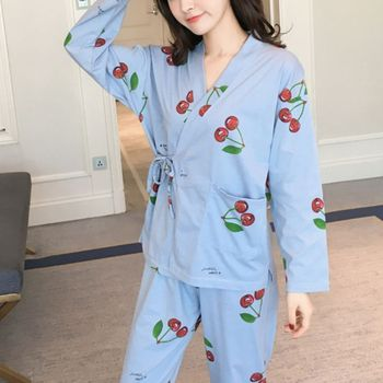 Women Homewear Suits Autumn Female Caroon Kimono Long Sleeve Top and Long Pants Pajamas Sets водолазка caroon
