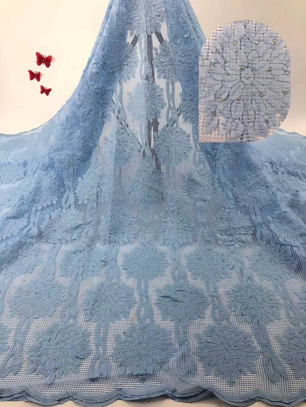 Rosa del ricamo tessuto Africano del merletto di alta qualità 2019 beautifule francese di tulle del merletto con i sequins per nigeriano del vestito delle donne-in Pizzo da Casa e giardino su  Gruppo 3