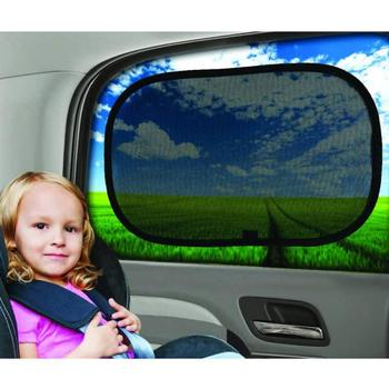 Black Side Car Sun Shades Rear Window Sunshades Cover Mesh Visor Shield Screen Interior UV Protection Kids image