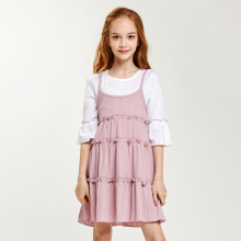 CupofSweet Contrast Dolly Elegant Kiddie Dress Girls Clothing Cropped Sleeve Summer Korean Fashion Casual Dresses