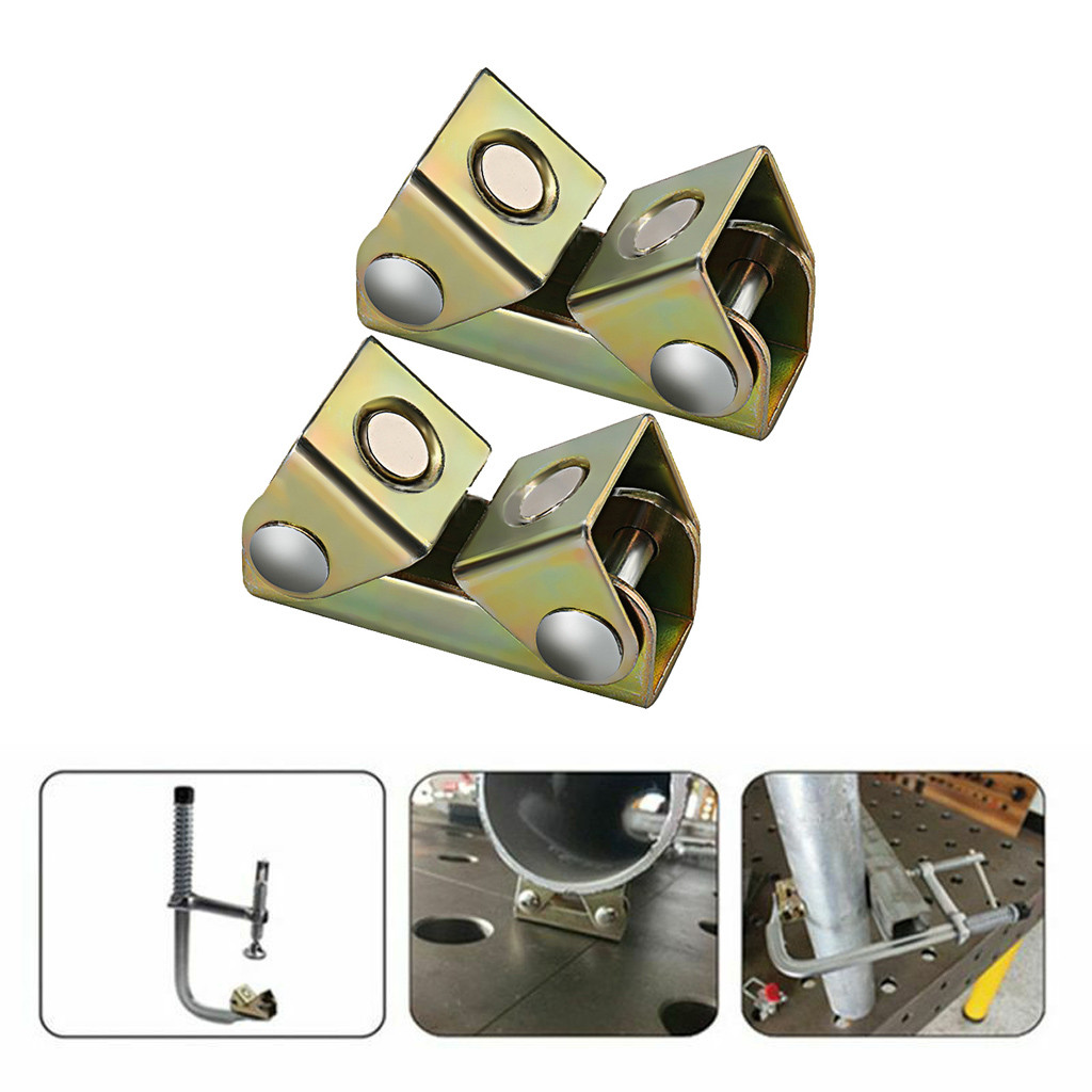 2 Pcs V Type Magnetic Welding Holder Clamps Holder Suspender Fixture Adjustable  Magnet V Pads Strong Hand Tools