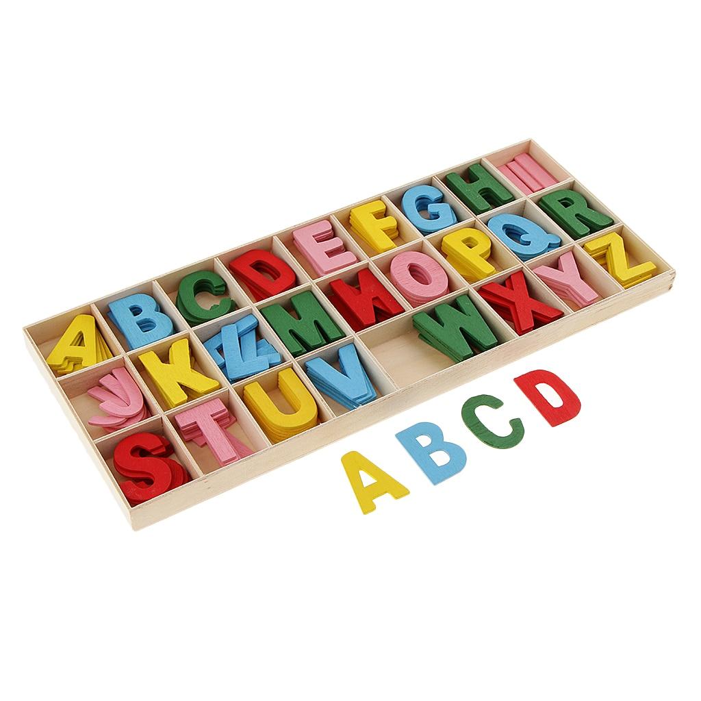 156 peças de madeira letras do alfabeto com caixa de bandeja de armazenamento crianças brinquedos educativos